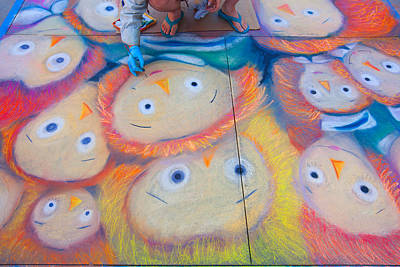 Photograph - Chalk Art - Street Photography by Ram Vasudev