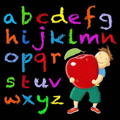 Alphabet Learning Digital Art - Chalk Board Alphabet B by David Brodie