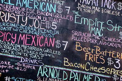 El Paso Photograph - Chalk Menu by Steven Green