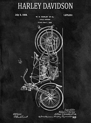 Harley Davidson Motorcycle Drawing - Chalkboard 1928 Harley Davidson Patent by Dan Sproul