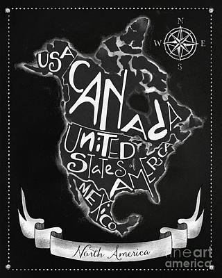 Business To Business Painting - Chalkboard Map Of North America by Tina Lavoie