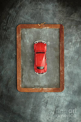 Chalkboard Toy Car Art Print by Edward Fielding