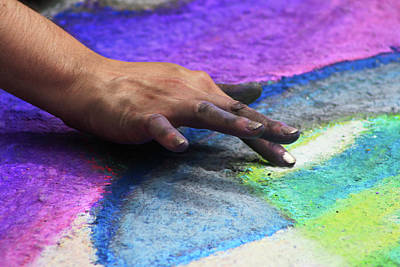 Artist Working Photograph - Chalky Hand by Selena Wagner