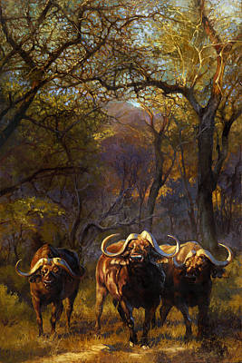 Water Buffalo Wall Art - Painting - Challenge by Heather Theurer