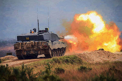 Challenger Digital Art - Challenger Tank Firing 3 by Roy Pedersen