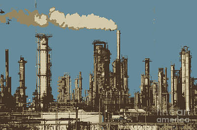 Photograph - Chalmette-refinery-stacks-on-the-mississippi In Four Colors by Rick Bures