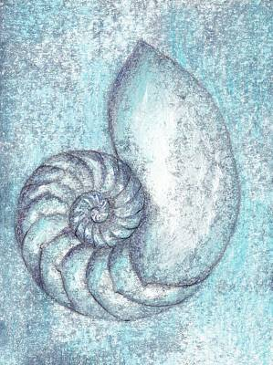 Painting - Chambered Nautilus In Blue by Lisa Le Quelenec