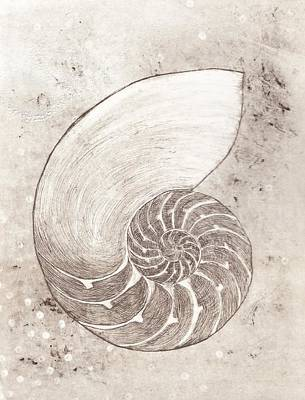 Painting - Chambered Nautilus Study In Sepia by Lisa Le Quelenec