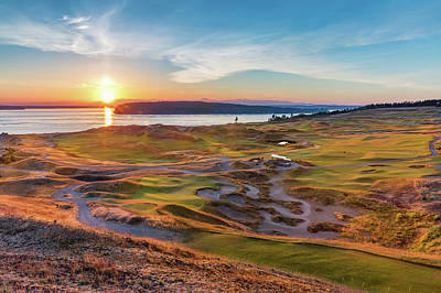 Recently Sold - Sports Royalty-Free and Rights-Managed Images - Chambers Bay Golf Course Sunset by Mike Centioli
