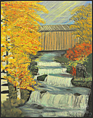 Painting -  Chambers Covered Bridge  by Mindy Bench