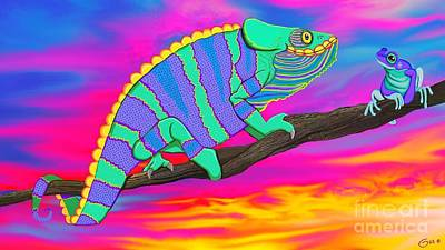 Digital Art - Chameleon And Frog by Nick Gustafson