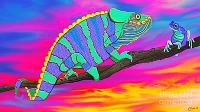 Digital Art - Chameleon And Frog by Nick Gustafson