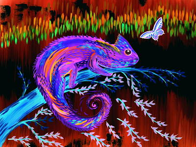 Chameleon Painting - Chameleon At Night by Cathy Jacobs