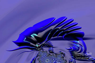 Digital Art - Chameleon Blue by Steve Purnell