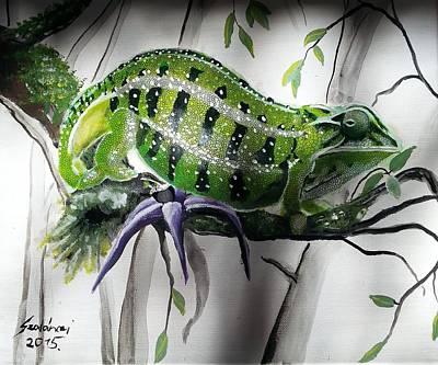 Chameleon Painting - Chameleon by Judit Szalanczi