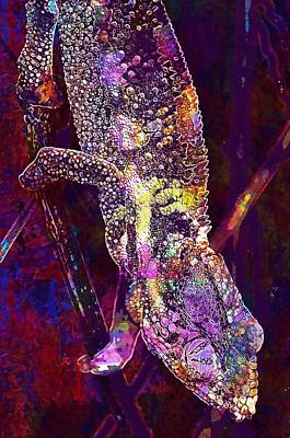 Digital Art - Chameleon Lizard Animal World  by PixBreak Art