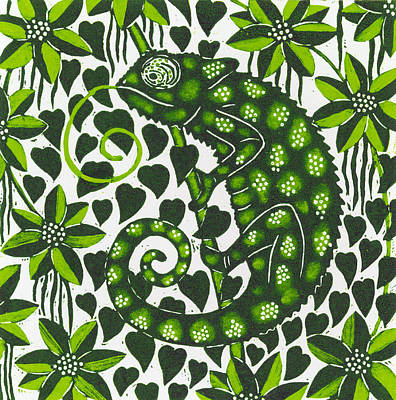 Wild Animals Painting - Chameleon by Nat Morley