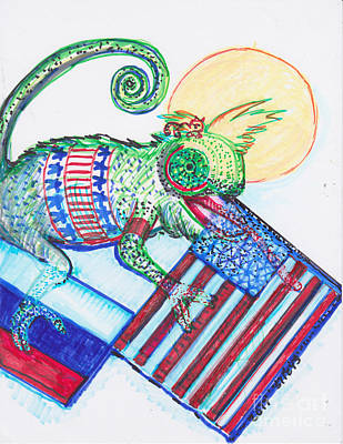 Covert Painting - Chameleon Trump by Susan Brown    Slizys art signature name