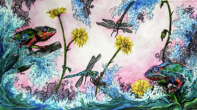 Dragonflys Painting - Chameleon Wonderland by Brittany Sibert