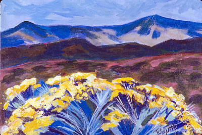 Yello Painting - Chamisa And Mountains Of Santa Fe by Betty Pieper