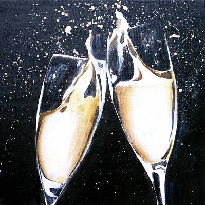 Champagne Painting 2 Art Print by Jacqueline DelBrocco