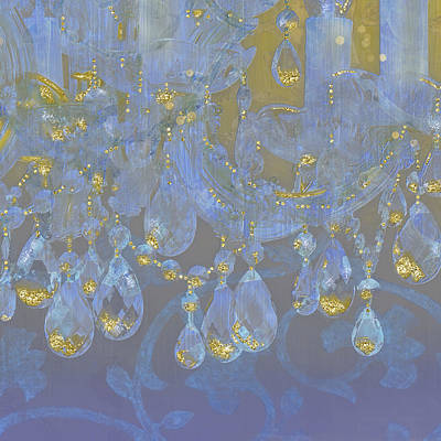 Candle Lit Mixed Media - Champagne Ballroom Closeup, Glowing Glitter Fantasy Chandelier by Tina Lavoie