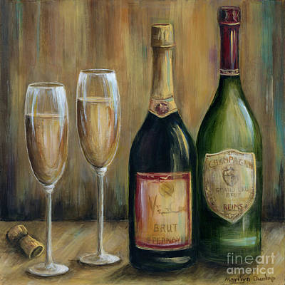 Champagne Glasses Painting - Champagne Celebration by Marilyn Dunlap