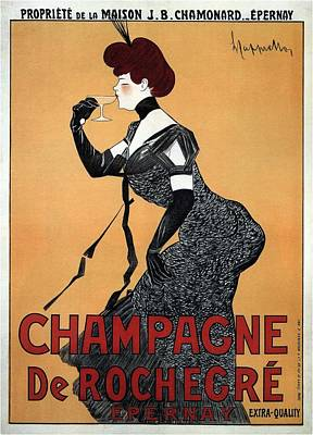 Royalty-Free and Rights-Managed Images - Champagne De Rochegre - Epernay, France - Vintage Advertising Poster by Studio Grafiikka