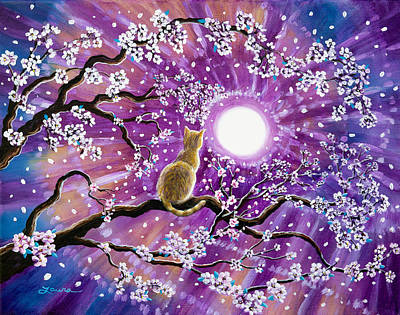 Purple Painting - Champagne Tabby Cat In Cherry Blossoms by Laura Iverson