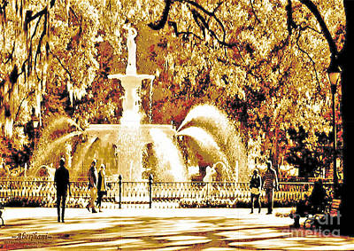 Digital Art - Champagne Twilight Forsyth Park Fountain In Savannah Georgia Usa  by Aberjhani