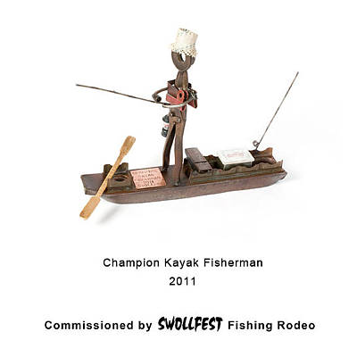 Sculpture - Champion Kayak Fisherman by Benjamin Bullins