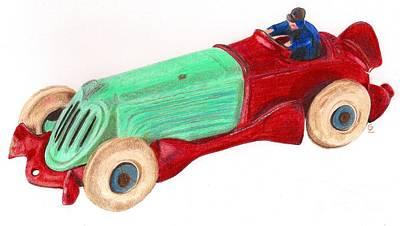 Cast Iron Drawing - Champion Racer by Glenda Zuckerman