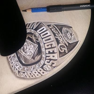Mlb Drawing - Championship Ring by Raul Carrillo