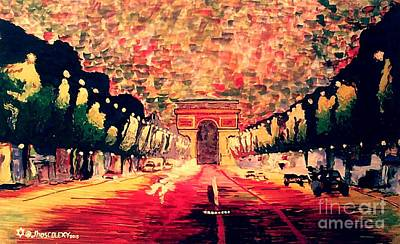 Champs Elysees Painting - Champs-elysee  by Moscolexy Moscolexy
