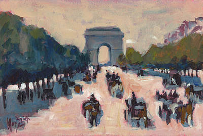 Painting - Champs Elysees Paris by Nop Briex