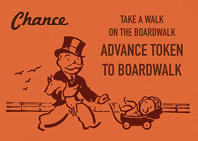 Monopoly Mixed Media - Chance Card Vintage Monopoly Take A Walk On The Boardwalk by Design Turnpike