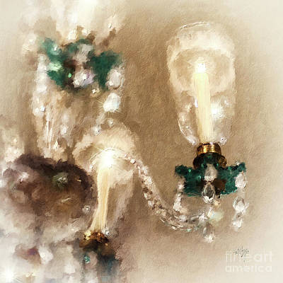 Art Print featuring the digital art Chandelier At Winterthur by Lois Bryan