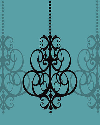 Art Print featuring the photograph Chandelier Delight 1- Blue Background by KayeCee Spain