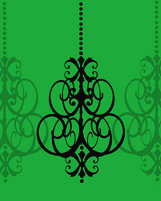 Art Print featuring the photograph Chandelier Delight 1- Green Background by KayeCee Spain