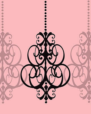 Chandelier Delight 1- Pink Background Art Print