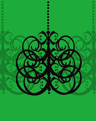 Art Print featuring the photograph Chandelier Delight 2- Green Background by KayeCee Spain