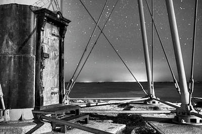 Photograph - Chandler Hovey Light Tower At Night Marblehead Ma Black And White by Toby McGuire