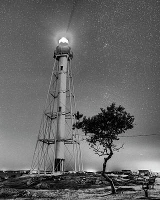 Photograph - Chandler Hovey Light Tower At Night Marblehead Ma Tree Black And White by Toby McGuire