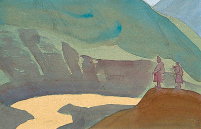 Symbolism Painting - Chandra River, Sketch by Nicholas Roerich