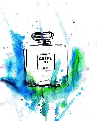 For Salons Painting - Chanel Aqua by Sweeping Girl