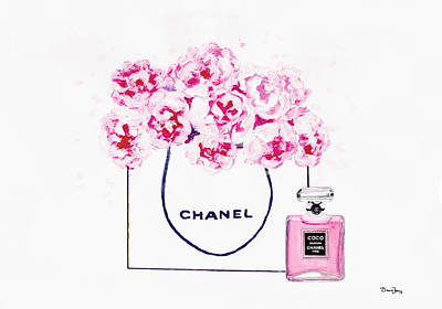 Chanel Bag Painting - Chanel Bag With Pink Peonys by Del Art 1d1d79a8a6e53