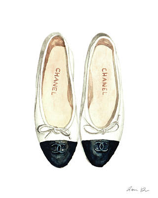 Chanel Wall Art - Painting - Chanel Ballet Flats Classic Watercolor Fashion Illustration Coco Quotes Vintage Paris Black White by Laura Row
