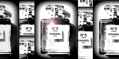 Digital Art - Chanel Bottles by Katy Hawk