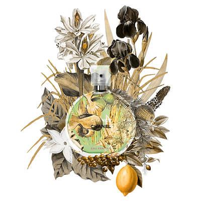 Chanel Chance Eau Fraiche Perfume Notes 1 Art Print by Diana Van