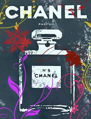 Mixed Media - Chanel Floral Parfum by Dan Sproul